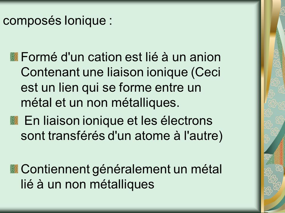 composés Ionique :