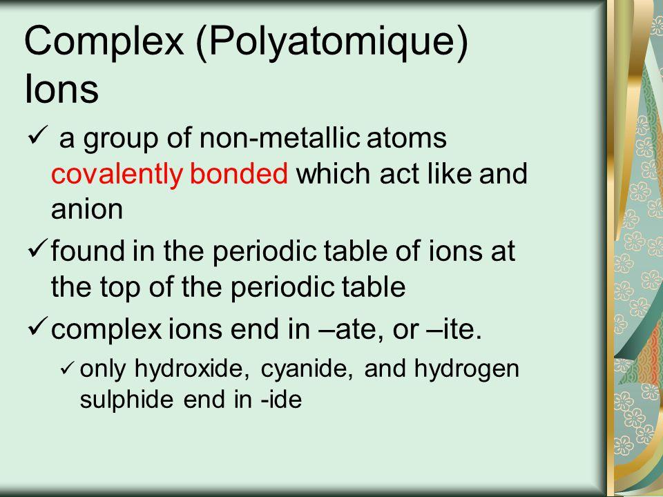 Complex (Polyatomique) Ions