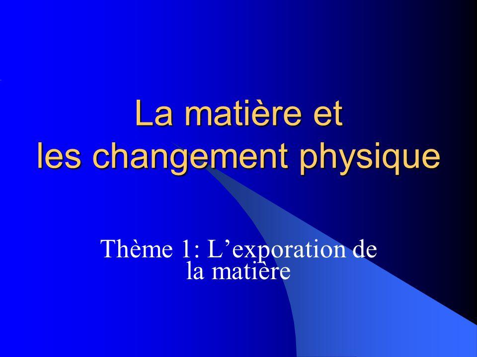 La matière et les changement physique