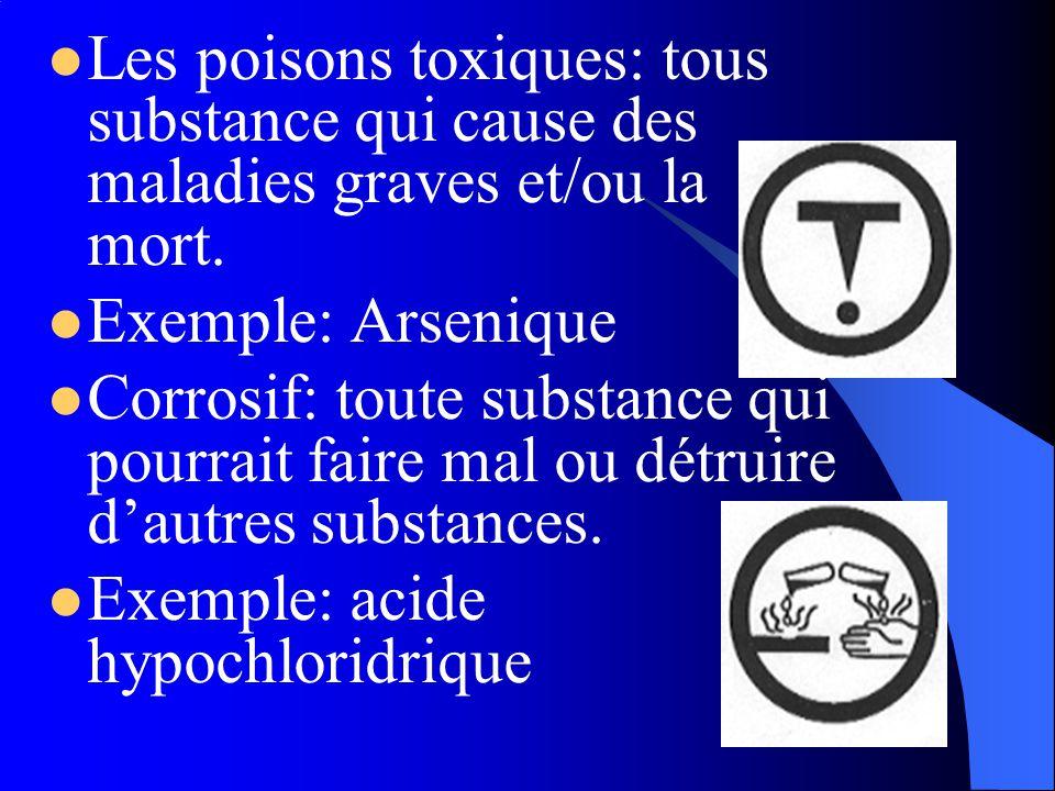 Les poisons toxiques: tous substance qui cause des maladies graves et/ou la mort.