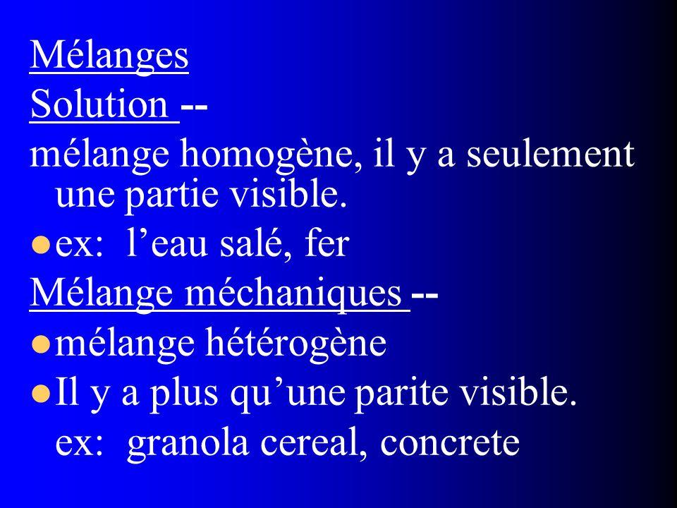 Mélanges Solution -- mélange homogène, il y a seulement une partie visible. ex: l'eau salé, fer.