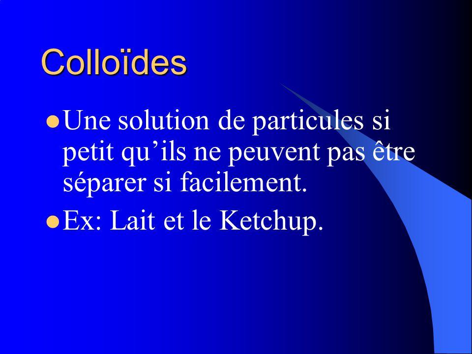 Colloïdes Une solution de particules si petit qu'ils ne peuvent pas être séparer si facilement.