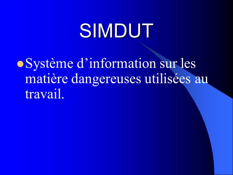 SIMDUT Système d'information sur les matière dangereuses utilisées au travail.