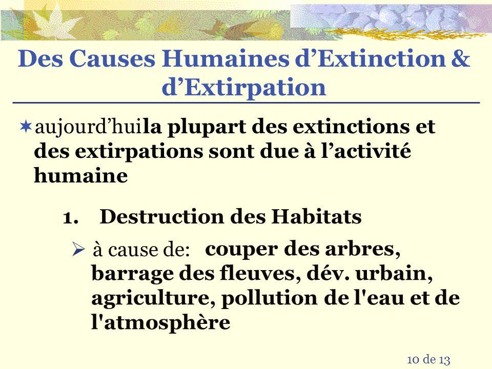 Des Causes Humaines d'Extinction & d'Extirpation