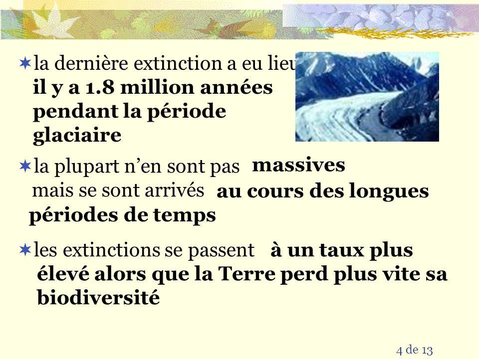 la dernière extinction a eu lieu
