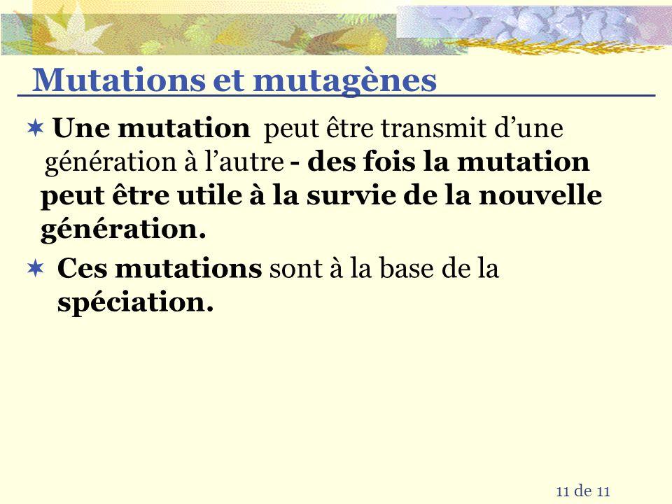 Mutations et mutagènes