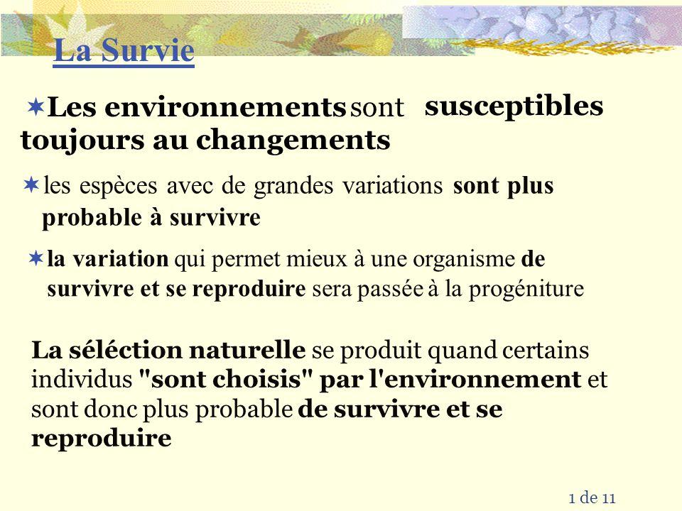 La Survie susceptibles toujours au changements sont Les environnements