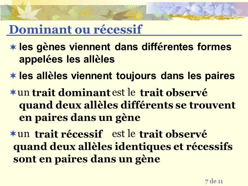 Dominant ou récessif les gènes viennent dans différentes formes appelées les allèles. les allèles viennent toujours dans les paires.