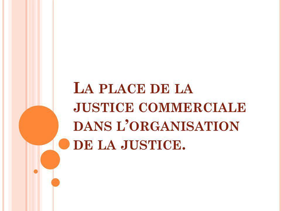 La place de la justice commerciale dans l'organisation de la justice.