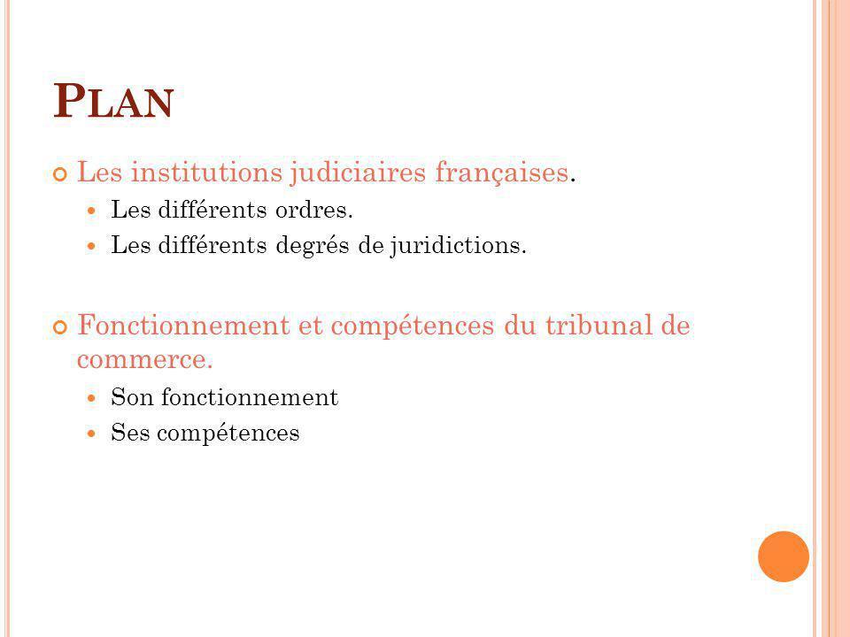 Plan Les institutions judiciaires françaises.