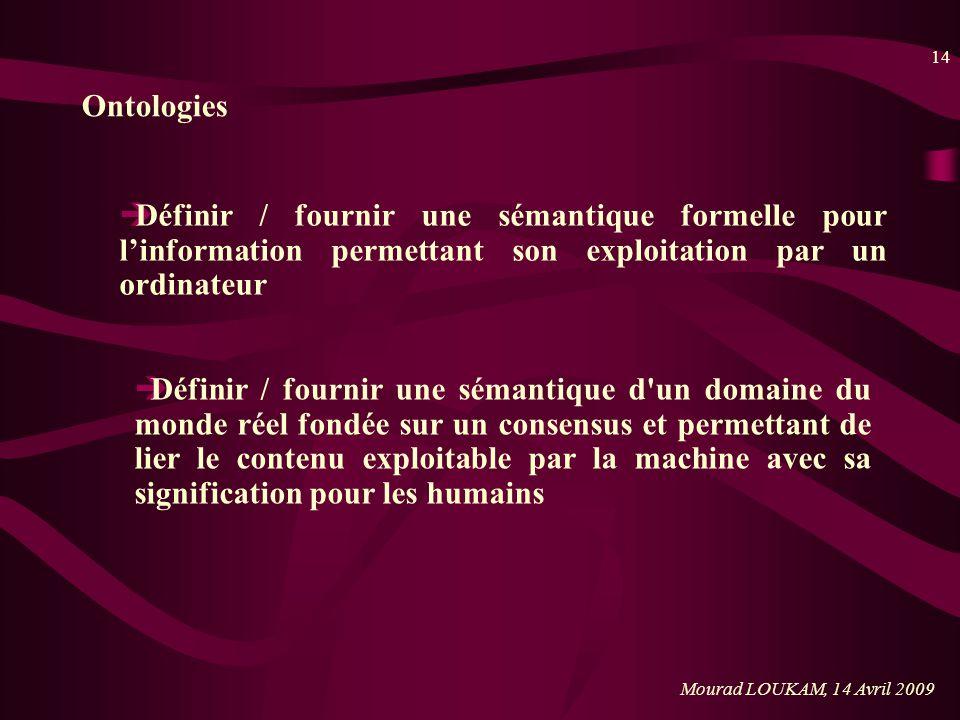 Ontologies Définir / fournir une sémantique formelle pour l'information permettant son exploitation par un ordinateur.