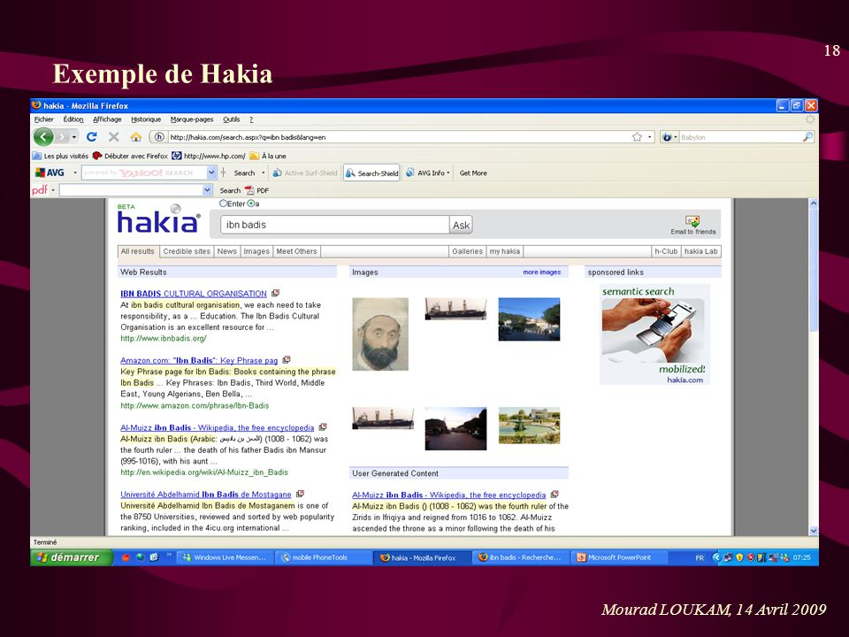 Exemple de Hakia Mourad LOUKAM, 14 Avril 2009