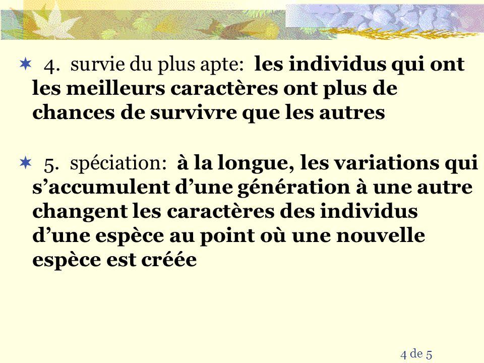4. survie du plus apte: les individus qui ont les meilleurs caractères ont plus de chances de survivre que les autres