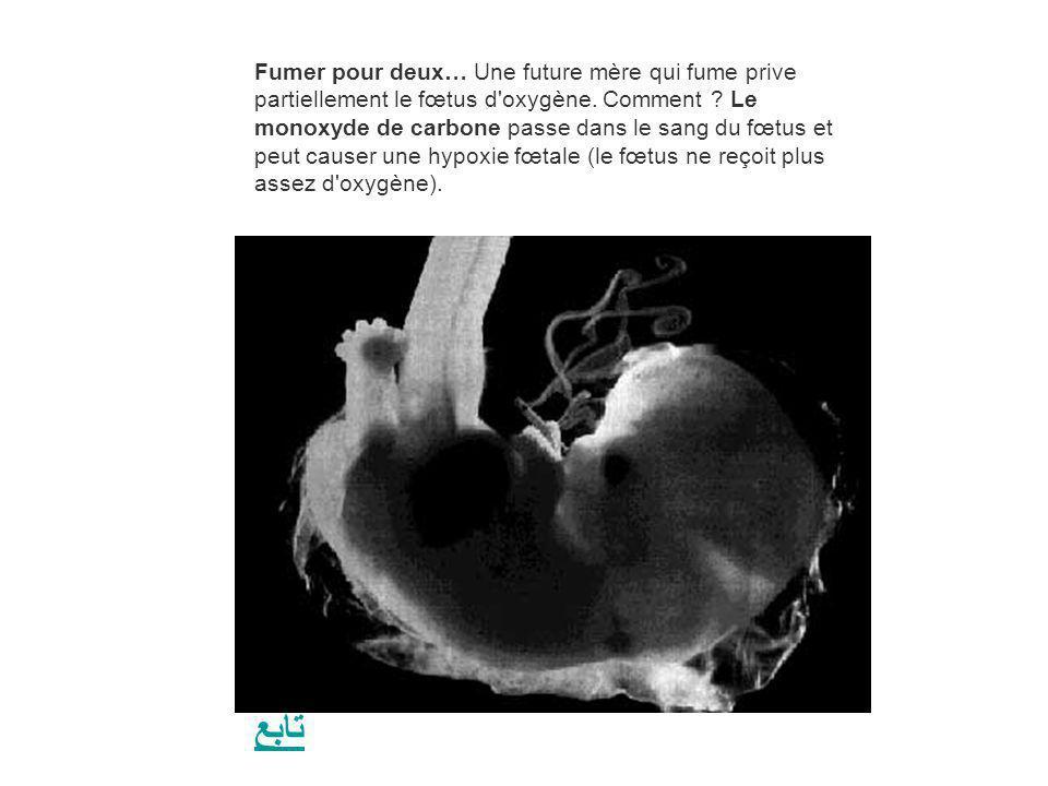 Fumer pour deux… Une future mère qui fume prive partiellement le fœtus d oxygène. Comment Le monoxyde de carbone passe dans le sang du fœtus et peut causer une hypoxie fœtale (le fœtus ne reçoit plus assez d oxygène).