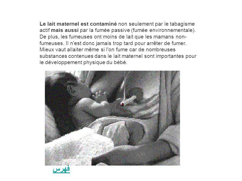 Le lait maternel est contaminé non seulement par le tabagisme actif mais aussi par la fumée passive (fumée environnementale). De plus, les fumeuses ont moins de lait que les mamans non-fumeuses. Il n est donc jamais trop tard pour arrêter de fumer. Mieux vaut allaiter même si l on fume car de nombreuses substances contenues dans le lait maternel sont importantes pour le développement physique du bébé.