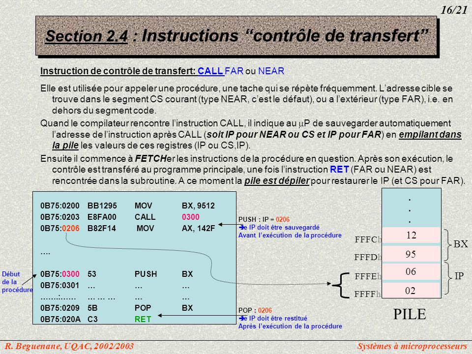 Section 2.4 : Instructions contrôle de transfert
