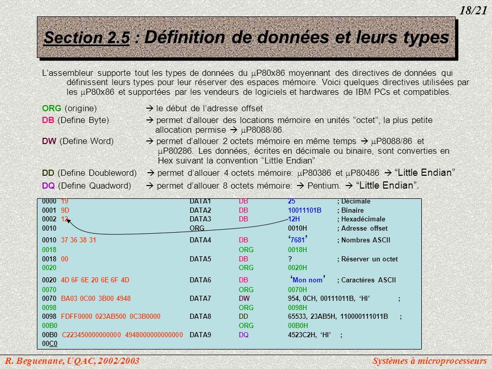 Section 2.5 : Définition de données et leurs types