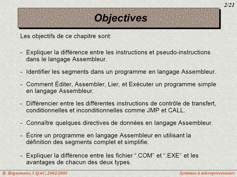 Objectives Les objectifs de ce chapitre sont: