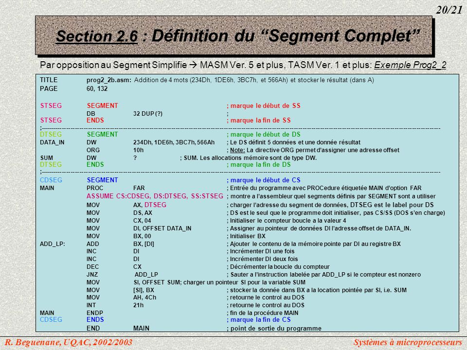 Section 2.6 : Définition du Segment Complet