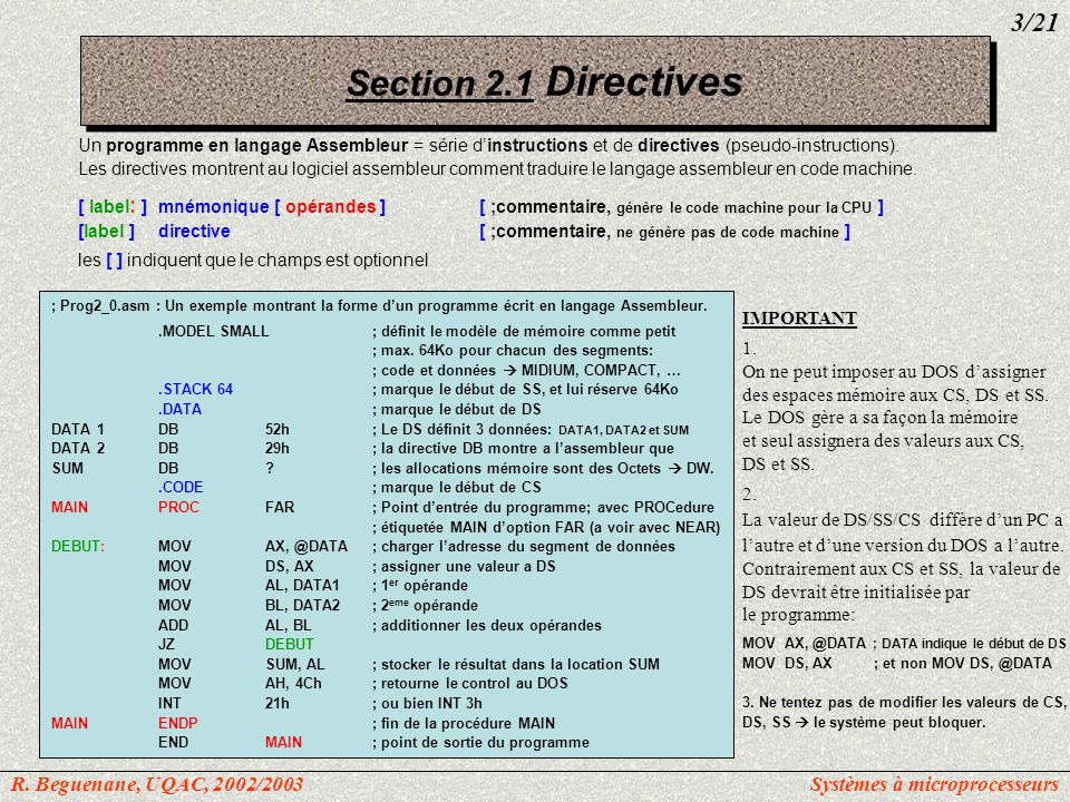 Section 2.1 Directives 3/21 R. Beguenane, UQAC, 2002/2003
