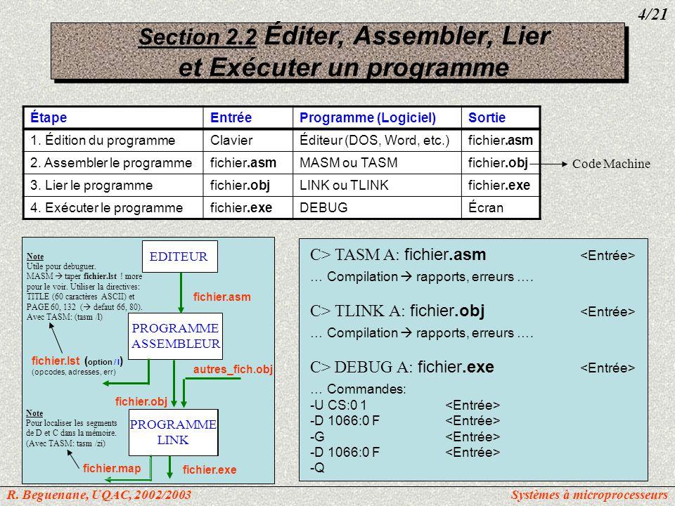 Section 2.2 Éditer, Assembler, Lier et Exécuter un programme