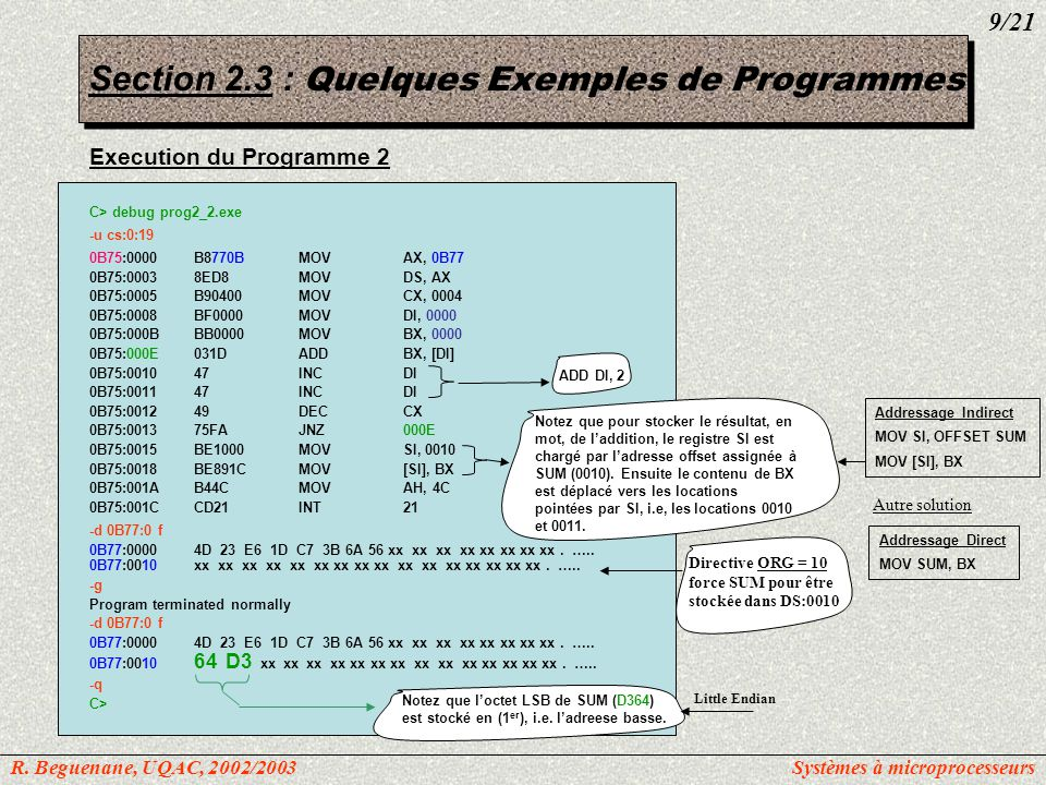 Section 2.3 : Quelques Exemples de Programmes