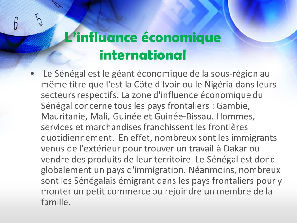 L'influance économique international