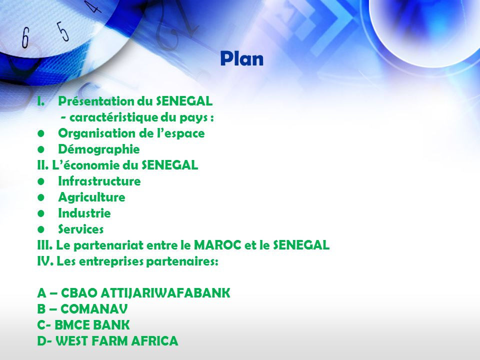 Plan Présentation du SENEGAL - caractéristique du pays :