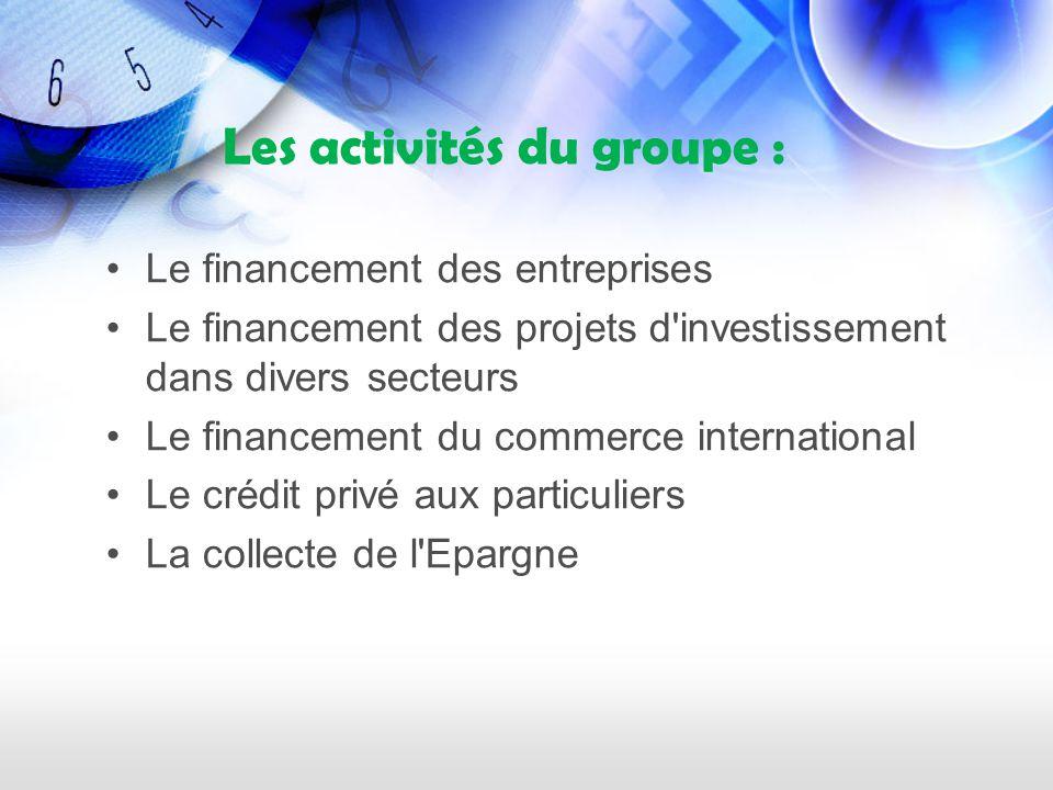 Les activités du groupe :