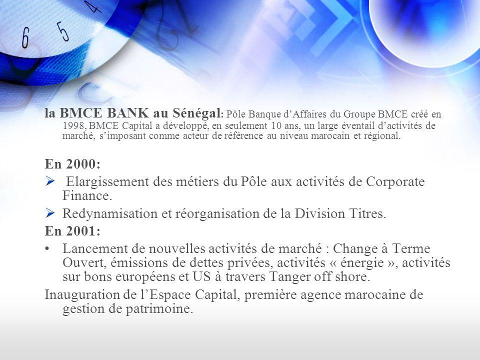 la BMCE BANK au Sénégal: Pôle Banque d'Affaires du Groupe BMCE créé en 1998, BMCE Capital a développé, en seulement 10 ans, un large éventail d'activités de marché, s'imposant comme acteur de référence au niveau marocain et régional.