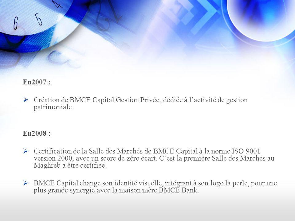 En2007 : Création de BMCE Capital Gestion Privée, dédiée à l'activité de gestion patrimoniale. En2008 :