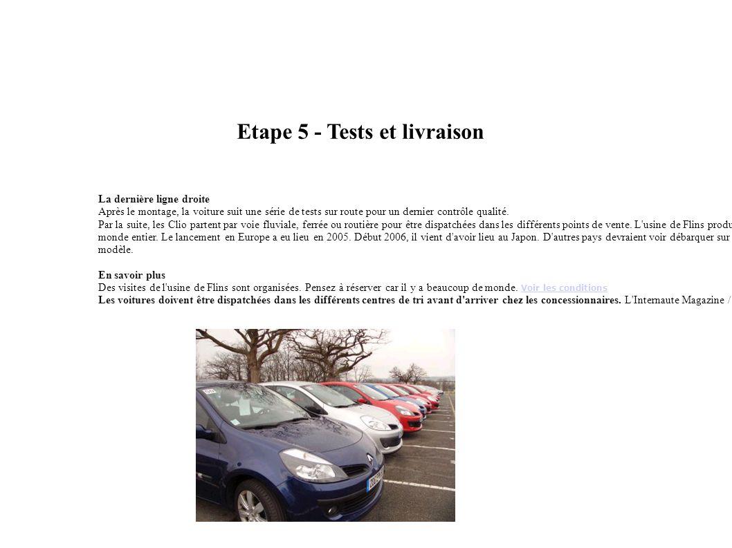 Etape 5 - Tests et livraison