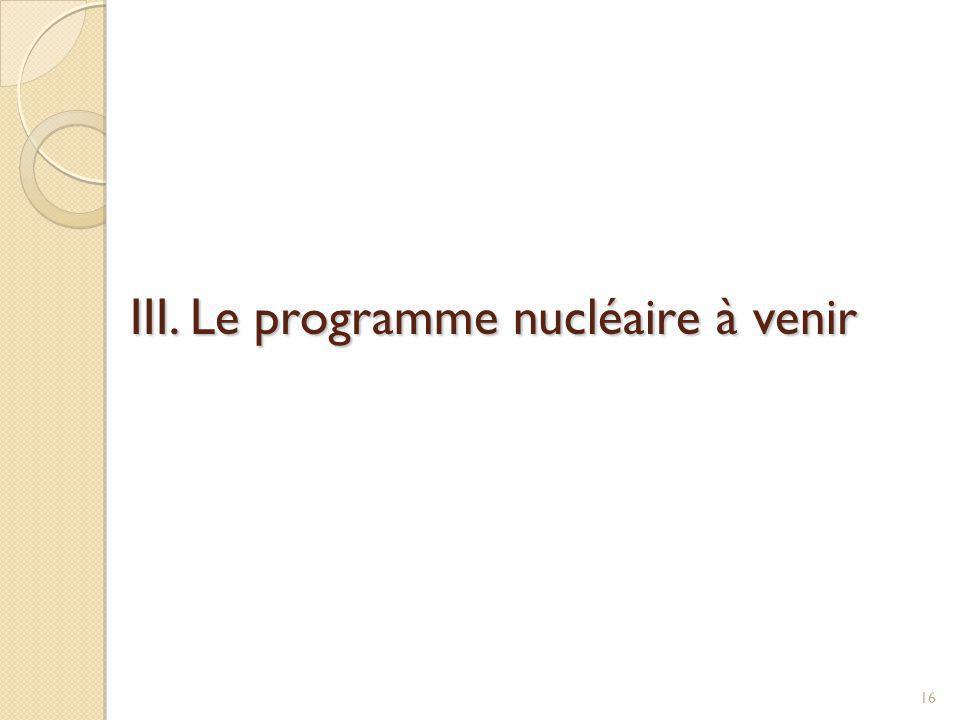 III. Le programme nucléaire à venir