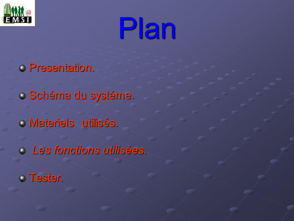 Plan Presentation. Schéma du systéme. Materiels utilisés.