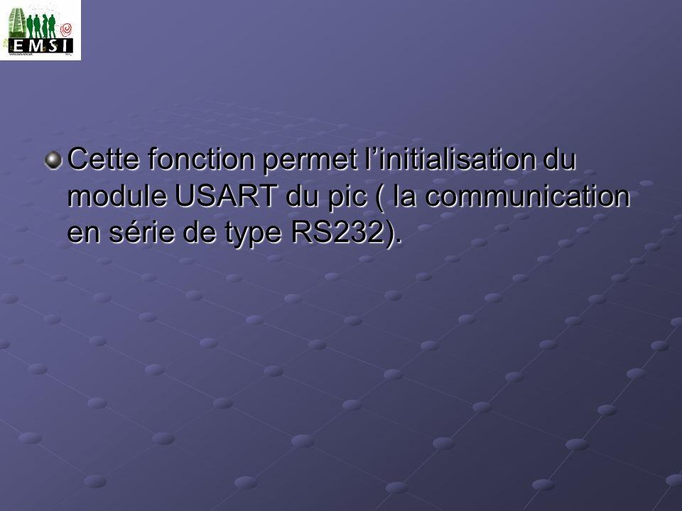 Cette fonction permet l'initialisation du module USART du pic ( la communication en série de type RS232).