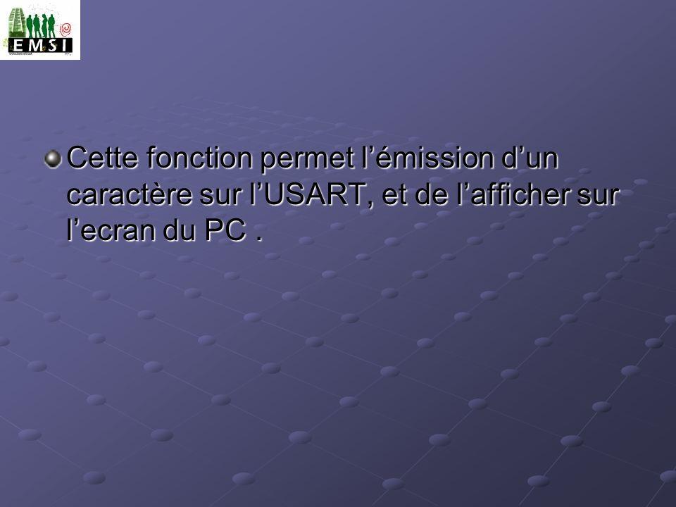 Cette fonction permet l'émission d'un caractère sur l'USART, et de l'afficher sur l'ecran du PC .