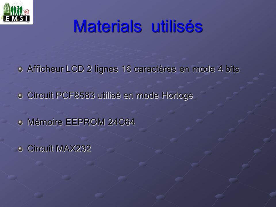Materials utilisés Afficheur LCD 2 lignes 16 caractères en mode 4 bits