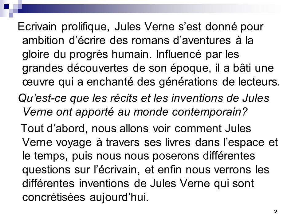 Ecrivain prolifique, Jules Verne s'est donné pour ambition d'écrire des romans d'aventures à la gloire du progrès humain. Influencé par les grandes découvertes de son époque, il a bâti une œuvre qui a enchanté des générations de lecteurs.