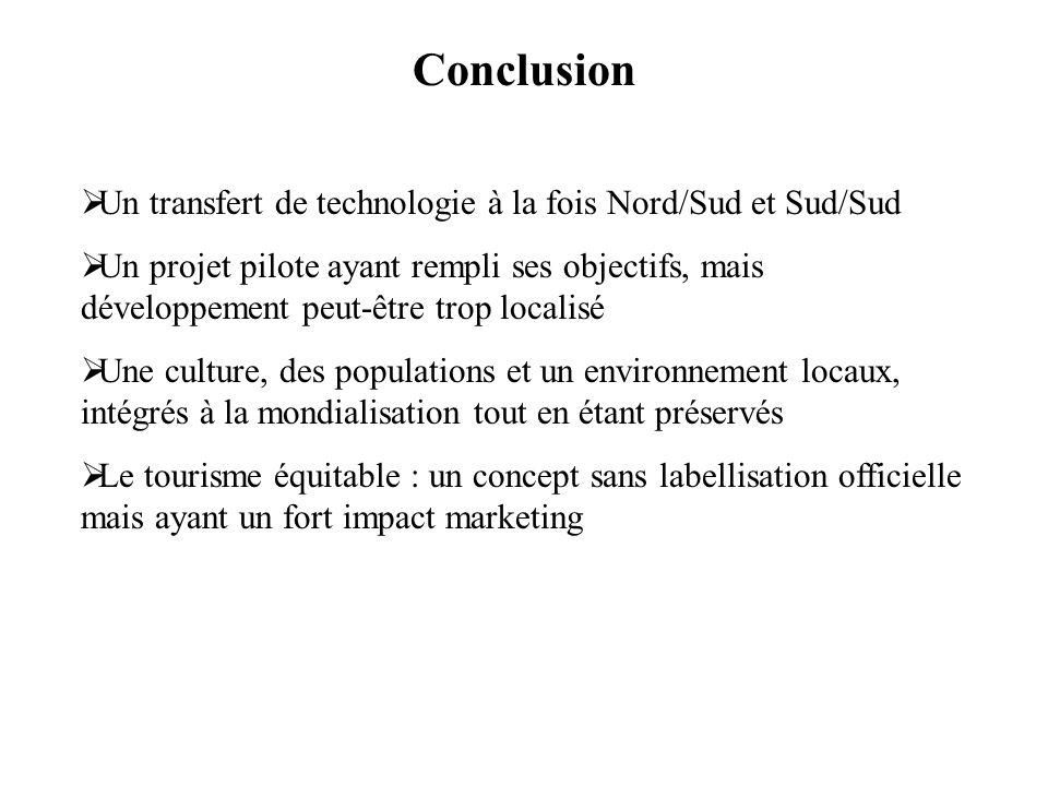 Conclusion Un transfert de technologie à la fois Nord/Sud et Sud/Sud