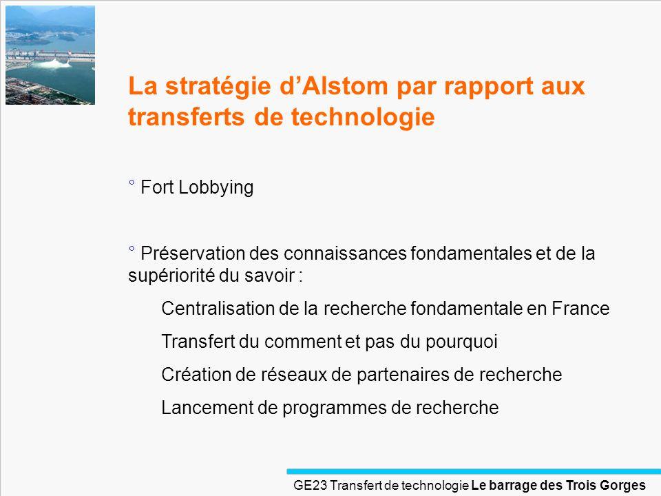 La stratégie d'Alstom par rapport aux transferts de technologie