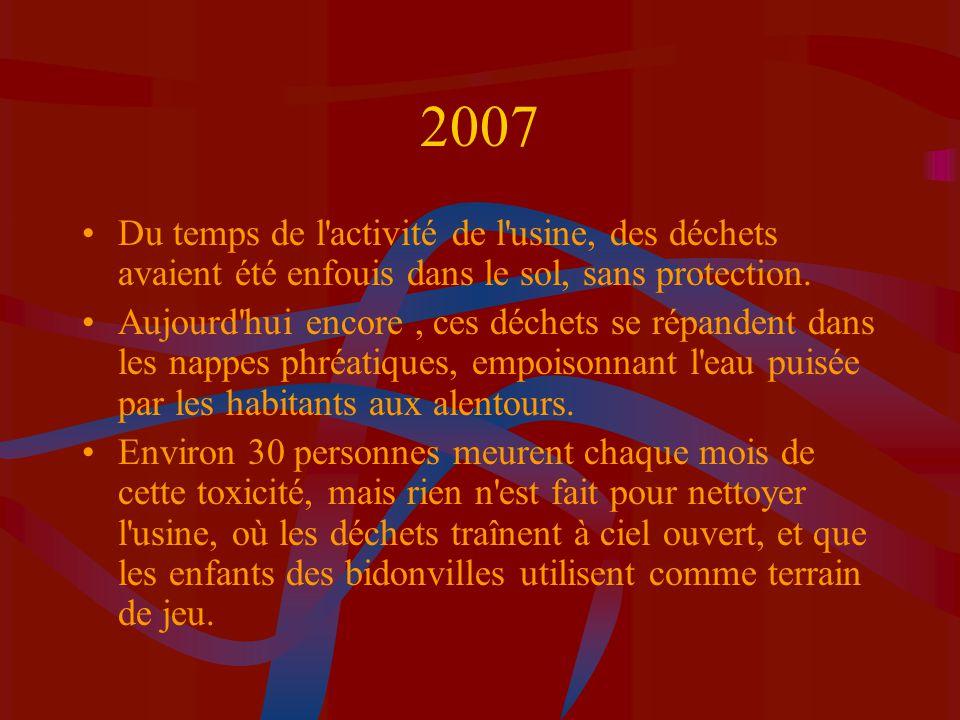 2007 Du temps de l activité de l usine, des déchets avaient été enfouis dans le sol, sans protection.