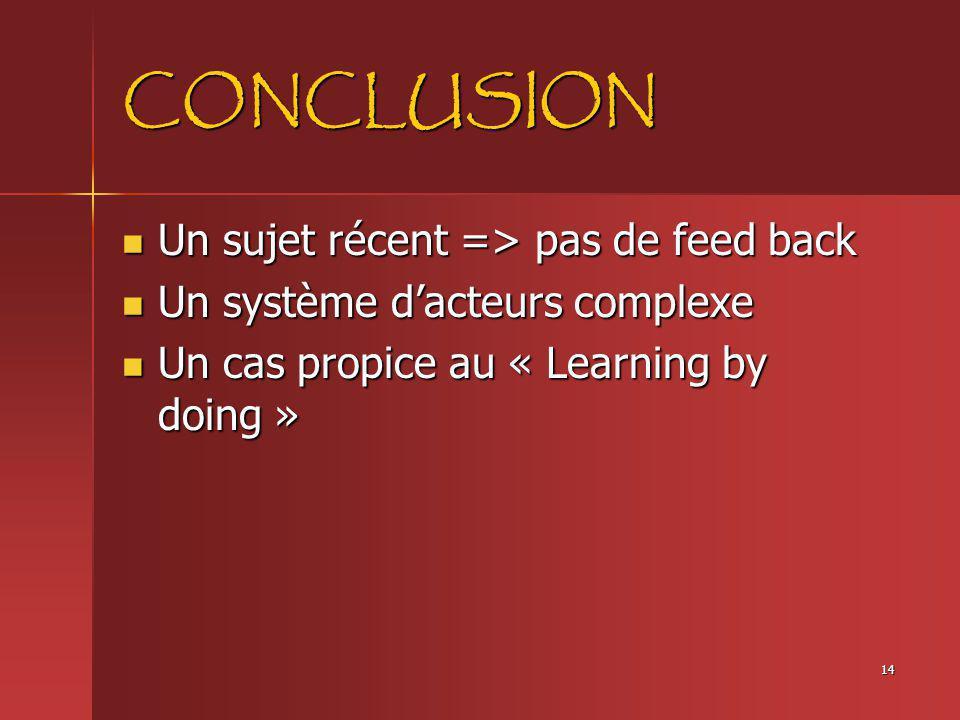 CONCLUSION Un sujet récent => pas de feed back