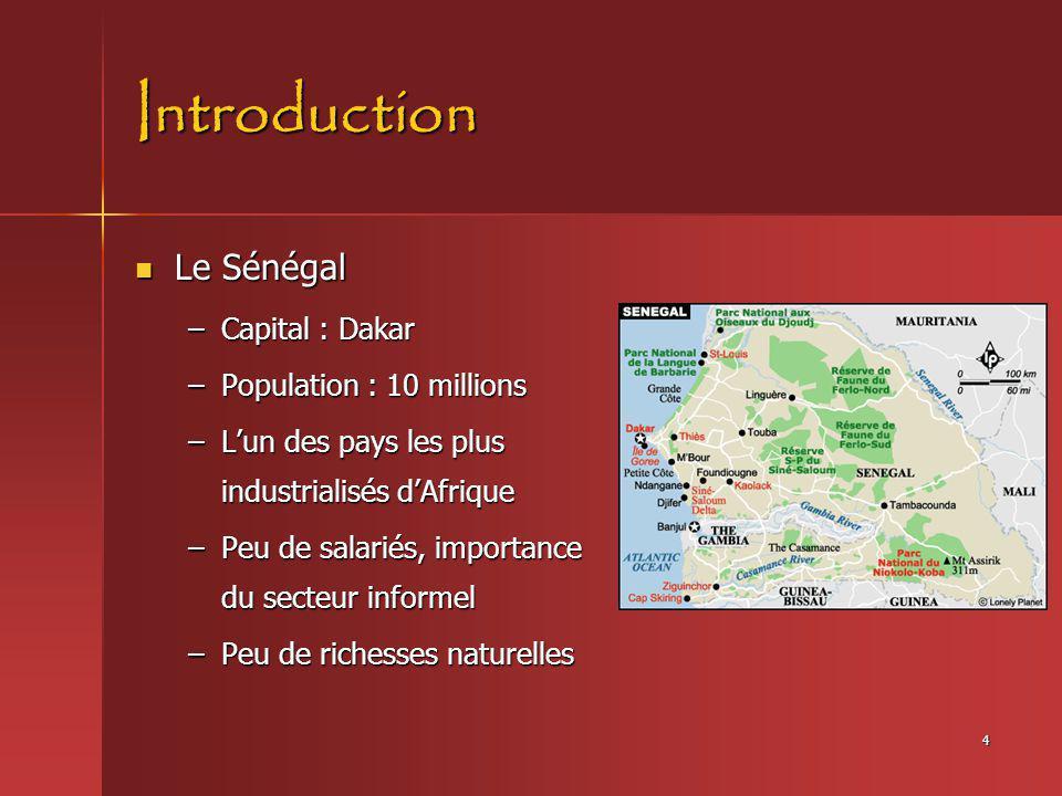 Introduction Le Sénégal Capital : Dakar Population : 10 millions