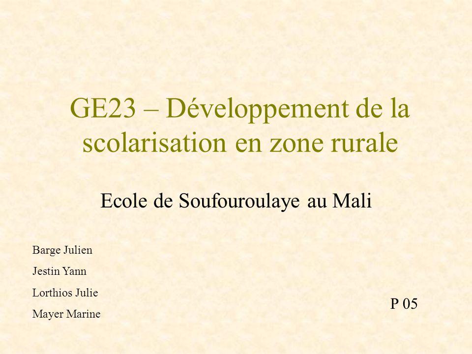 GE23 – Développement de la scolarisation en zone rurale
