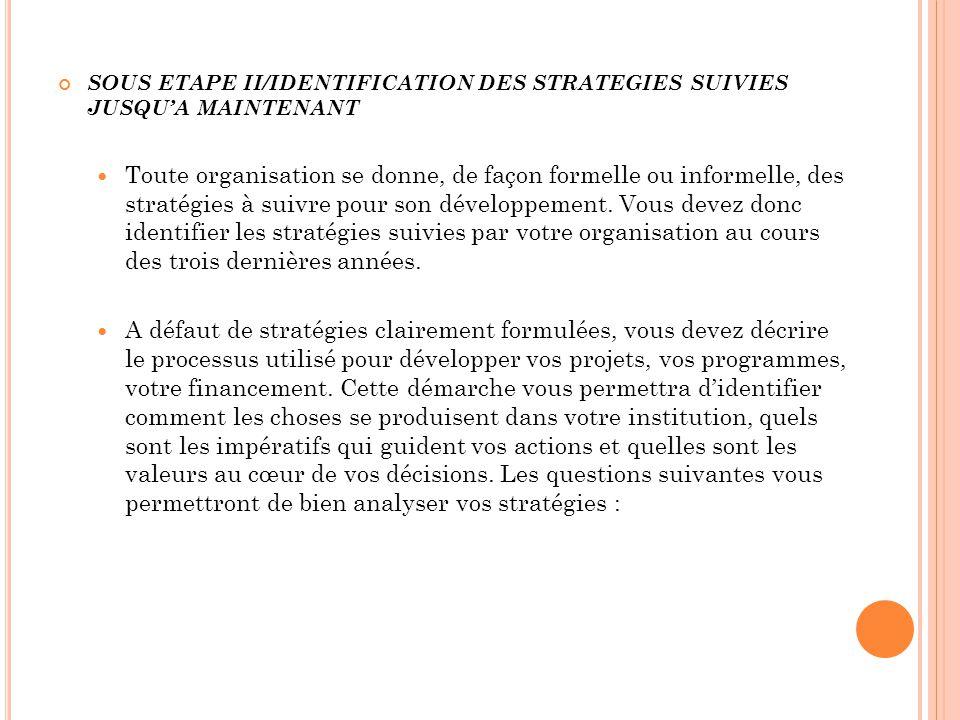 SOUS ETAPE II/IDENTIFICATION DES STRATEGIES SUIVIES JUSQU'A MAINTENANT