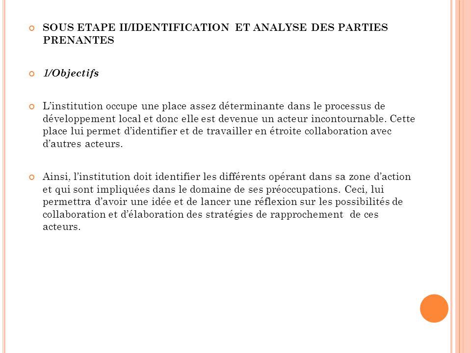 SOUS ETAPE II/IDENTIFICATION ET ANALYSE DES PARTIES PRENANTES