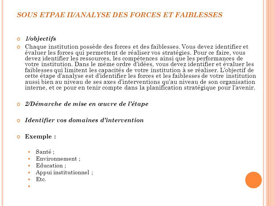 SOUS ETPAE II/ANALYSE DES FORCES ET FAIBLESSES