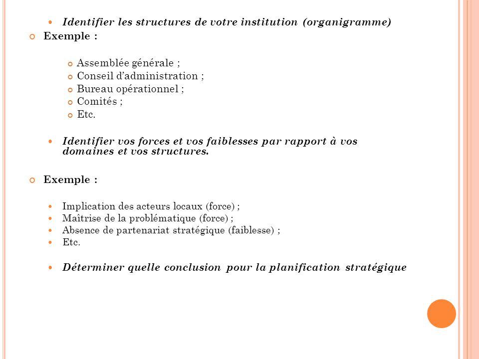 Identifier les structures de votre institution (organigramme)