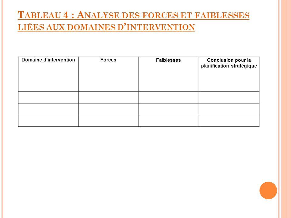 Domaine d'intervention Conclusion pour la planification stratégique