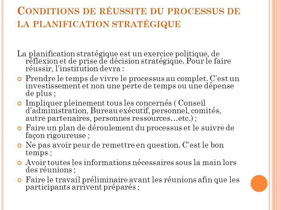 Conditions de réussite du processus de la planification stratégique